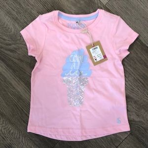 Girls Joules pink BWT ice cream top, size 5